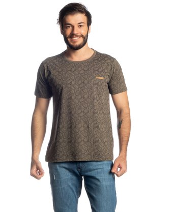 Camiseta Adulta Masculina Estanciero Cáqui Estampada Manga Curta