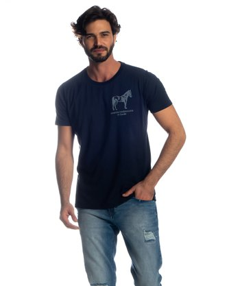 Camiseta Adulta Masculina Estanciero Denin Estampada Manga Curta