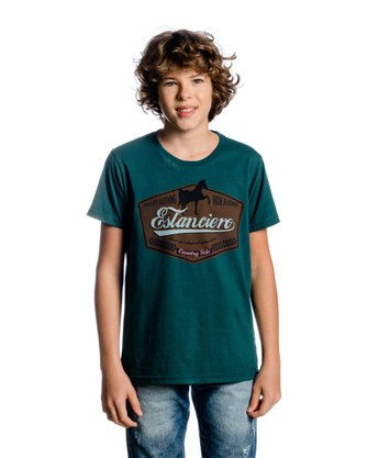 Camiseta Country Juvenil Masculina Estanciero Manga Curta Estampa Cavalo